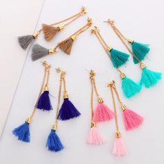 Custom listing - double tassel earrings Custom listing - 2 pairs of earrings - 1 pink, 1 blue. Bar Stud Earrings, Diamond Hoop Earrings, Moon Earrings, Diy Earrings, Diamond Studs, Tassel Earrings, Double Earrings, Diamond Rings, Tassel Jewelry