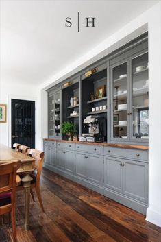 English Cottage — jean stoffer design - Coffee bar with gray blue cabinets, in dining room, antique brass lighting, glass cabinet doors, wo - Blue Cabinets, Built In Cabinets, Built In Hutch, Wall Of Kitchen Cabinets, Dining Room Cabinets, Wood Counter Tops Kitchen, Shelves In Dining Room, Built In Bar Cabinet, Built In Buffet