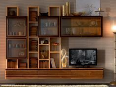 ELETTRA DAY Wooden storage wall by Cantiero