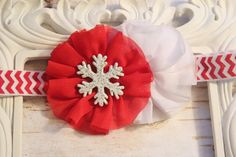 Red White Snowflake Baby Headband Shabby by SparklesButterflies