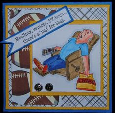 "Art Impressions Ai People Lazy Boy Set ""There's a nap for that""  Football card"