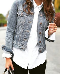 Outfit/ denim + blan