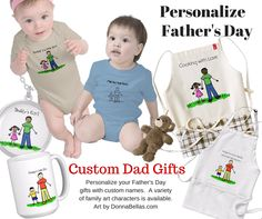 Mug, shirts, necklaces, aprons, ornaments, & more can all be personalized with your family names to make a special gift for dad.  Make custom Daddy & Me gifts for Fathe's Day!  Art characters come in a wide variety of ethnic family choices.  There is a no color line drawing too. Shop online at http://www.zazzle.com/donnabellas/gifts?cg=196653194889069196&rf=238185080270205275