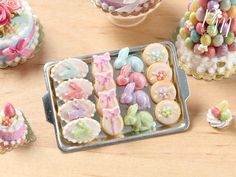Easter Cookies and Rabbit Candies on Metal by ParisMiniatures