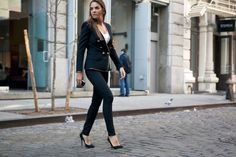 Balmain jacket, BLK DNM jeans, Balenciaga T-shirt, Balmain pumps.