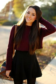 skater mini skirt + long sleeve maroon red wine cropped sweater | fall autumn style