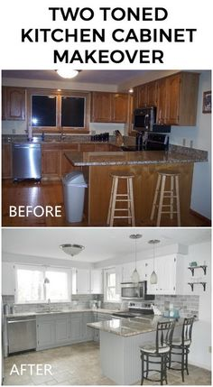 Awesome DIY Kitchen Makeover Ideas - For Creative Juice Two Toned Kitchen Caninet Makeover: Refacing Kitchen Cabinets, Kitchen Cabinet Remodel, Kitchen Redo, Kitchen Makeovers, Kitchen Upgrades, Repainted Kitchen Cabinets, How To Paint Kitchen Cabinets, Gray Kitchen Cabinets, Diy Kitchen Makeover