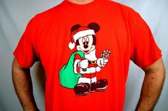 Vintage 80s Oversized Mickey Mouse Santa Christmas by RogueRetro
