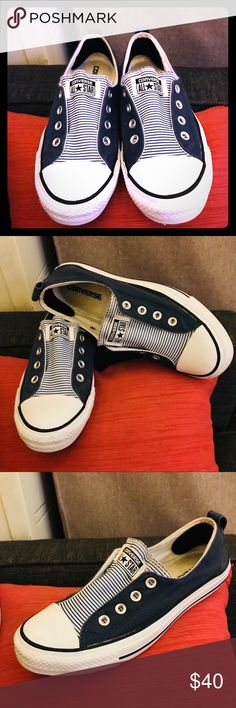 "wholesale dealer 273df 05abc Navy & White Pinstripe Seersucker Slip-On Converse FREE shipping offered w/  ""like"