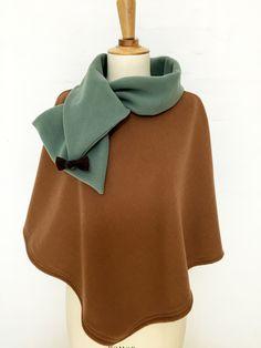 cape femme col croisé noeud laine cachemire liberty mode vert olive spéculos carreaux hiver couture création