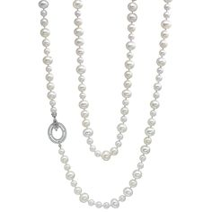 """Freshwater cultured pearl long necklace, accentuated by an elegant pavé diamond double oval clasp in 18k white gold. Mixed size pearls ranging from 6-10mm in diameter. 146 round brilliant cut diamonds weighing 0.90 total carats (G-H color, SI1 clarity). Designed by Ivanka Trump. 36"""" length."""