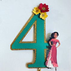 ONLY ACCEPTING ORDERS FOR PARTIES AFTER MAY 20 AND SHIPS OUT ACCORDING TO DATE OF PARTY. This listing is for a 6.5 number or letter that is embellished with bright 3d flowers and an image of Elena Please be sure to leave initial or letter in notes and date of party Thank you
