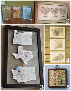 "Five DIY Map Based Romantic Crafts:  DIY Framed Maps ""You, Where we met, Me"" (melodyannesp) here. via melodyannesp    DIY Love Map (Minimoz) here.  DIY Map Wall Art (kayla danelle) here. via throughherprettyeyes   DIY Heart String Art ""Him, Us, Her"" (Southern Belle Soul) here.   DIY ""I Will Find You"" Map and Lace Pendant Necklace (Maxium Rabbit Designs) here."