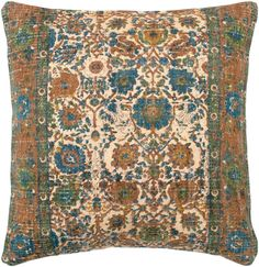 Buy the Surya Orange / Blue Direct. Shop for the Surya Orange / Blue Shadi Wide Square Vintage Botanical Cotton and Jute Accent Pillow Cover and save. Orange Pillows, Floral Throw Pillows, Decorative Throw Pillows, Oversized Pillows, Papasan Cushion, Papasan Chair, Pillow Arrangement, American Decor, Home Decor Trends