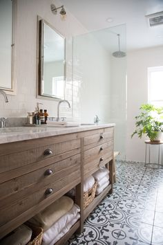 """Fashion Designer & Boutique Owner Christine Alcalay's """"Mid-Century Zen"""" Home in Brooklyn: gallery image 24 Lake House Bathroom, Small Bathroom, Master Bathroom, Bathroom Ideas, Downstairs Bathroom, Bath Ideas, Bathroom Designs, Bathroom Closet, Dream Bathrooms"""