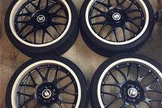 """FS  19"""" x 8.5"""" BBS RS-GT, powdercoated White & Black, with tires"""