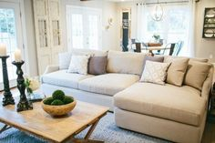 Love this couch/table set up in the living room