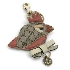 GUCCI Auth Bag Charm Key Holder Beige Pink Metal Free Shipping Excellent #0554