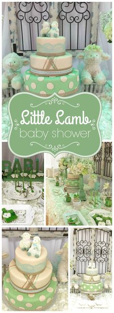 Two little lambs are welcomed at this sweet vintage baby shower! See more party ideas at http://CatchMyParty.com!