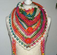 Road Trip  scarf crochet triangle scarf fashion by CrochetRagRug