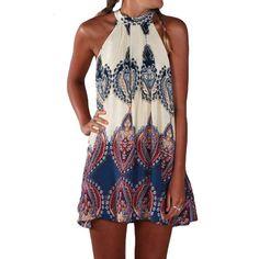 ANSELF Fashion Women Boho Dress Summer Loose Printed Halter Style Sleeveless Hippie Mini Dress Plus Size Women Clothing Vestidos