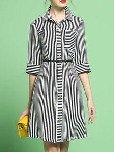 Stripes Elegant Half Sleeve Shirt Collar Midi Dress With Belt