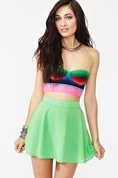 Silk Circle Skirt in Neon Green