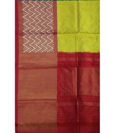 Yellow Pure Handloom Ikkat Silk Saree