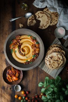 Slow-roasted Tomato & Basil Hummus + Quick Whole Wheat Yogurt Flatbreads…