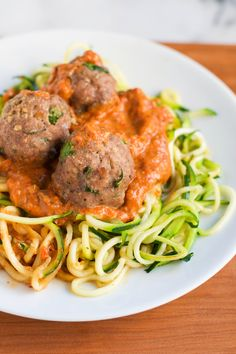 Zoodles with Turkey Meatballs in a Roasted Red Pepper Sauce via @adashofmegnut