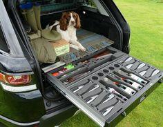 Storage Drawer, Gun Box, Gun Safe fitted to Range Rover Sport 1 Truck Bed Storage, Vehicle Storage, Hunting Truck, Steel Edging, Gmc Motorhome, Range Rover Classic, Dog Cages, Road Trip With Kids, Range Rover Sport