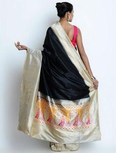 Black - Beige Silk Zari Handwoven Saree by Ekaya