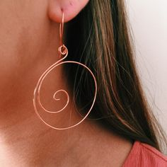 Big Copper Spiral Earrings
