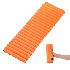 Ultra Light Self-inflating Sleeping Pad, Rhino Valley TPU Portable Air Mattress Manual Pressure Inflation for Outdoor Camping, Hiking, Trekking, Backpacking and Water Activities, Medium Size, ORANGE. WATERPROOF AND DURABLE - Made of 80% Chinlon + 20% TPU which results in its waterproof function; high density fabric makes itself wearable and tear-resistant. Premium brass air outlet valve and non-removable cap equipped prevent units from missing and promise a more effective inflation. NOVEL...
