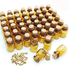 Dark Brown Cute Strong Miniature Glass Bottle with Corks Tiny Glass Bottles Small Bottles Great for Jewelry Making Altered Art, Miniature Art, Etc. ** You can get more details by clicking on the image.
