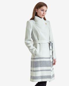 Striped long wrap coat - Mid Grey | Jackets & Coats | Ted Baker UK