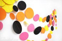 Items similar to Hot Pink Black Orange Yellow Party Garland - Bridal Shower Decor, Baby Shower Decor, Birthday Decoration, Hen party decor on Etsy Bridal Shower Decorations, Birthday Decorations, Pink Black, Hot Pink, Party Garland, Hens, Orange Yellow, Circles, Walls