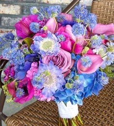 Pink an blue flowers wedding idea