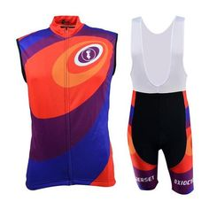 Men's Purple Orange Sleeveless Cycling Jersey Set #Cycling #CyclingGear #CyclingJersey #CyclingJerseySet