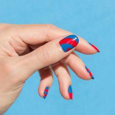 blue and red nail design    Minimalist nail art