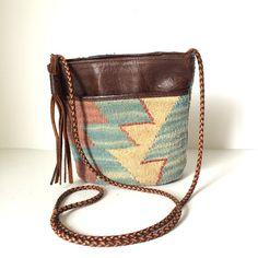 KILIM Southwestern Wool and Leather Mini by pascalvintage on Etsy