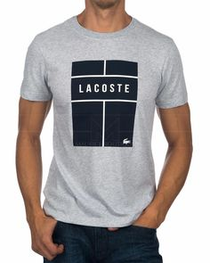 LACOSTE © T Shirt Grey & Navy | BEST PRICE