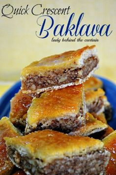 Quick Crescent Baklava---A nice alternative to the traditional Baklava.  This recipe is easy to make with tons of walnut and honey flavor!  This recipe comes from a Pillsbury contest in 1980-Annette Erbeck. http://www.ladybehindthecurtain.com/quick-crescent-baklava/