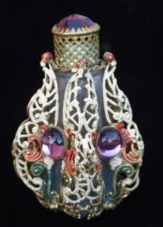 Czech Art Deco 1930s Bejeweled Sgned Mini Perfume Bottle Retains Dauber | eBay