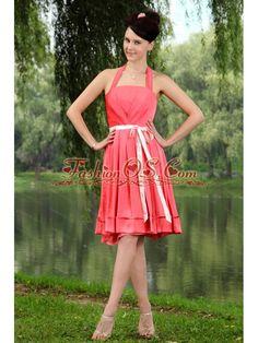 1bf52132a7 Sash Halter Empire Coral Red Taffeta Dama Dress Dama Dresses