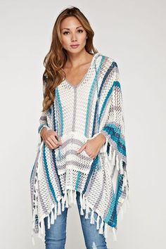 Crocheted Poncho in Blues