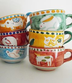 Vietri cups collection, handmade and handpainted in Italy. #Vietri