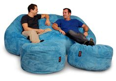 Just a couple of dudes... Sitting on a sky blue beanbag couch...