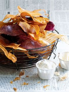 sweet potato and yam chips with hot mustard dipping sauce from donna hay