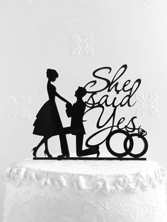 She Said Yes Cake Topper Wedding Cake Topper Custom Cake